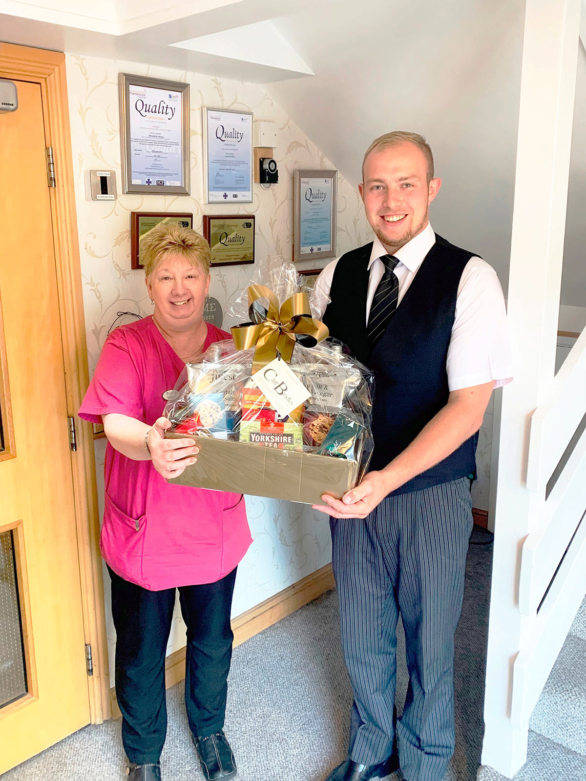 Ed presents a hamper to Grosevenor House Care Home (1st August 2019)